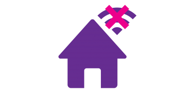 Icon of a house with the wifi signal crossed out